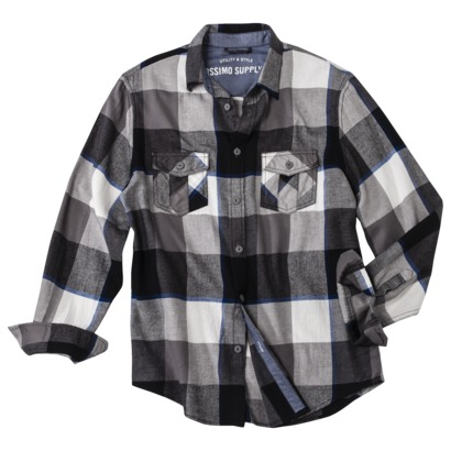 Mossimo Supply Co. Men's Long Sleeve Flannel in Ebony/Sour Cream Plaid
