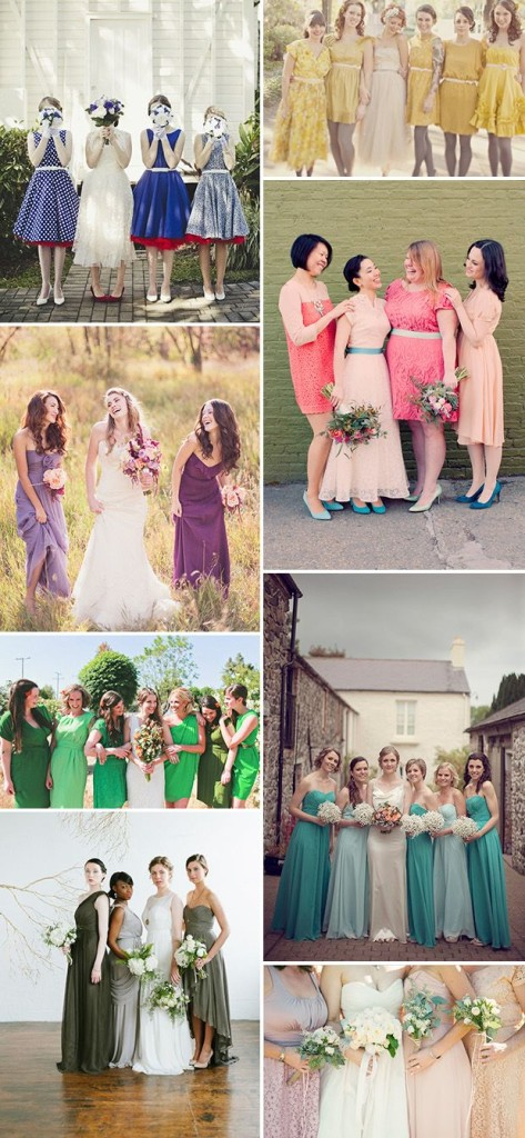 Mixing & Matching Bridesmaids Dresses - This is a great new trend because no two bridesmaids are alike in style, personality or appearance.
