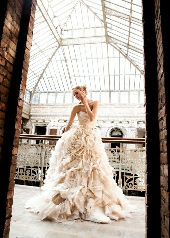 Ruffled Wedding Dress - This picture is amazing and what girl doesn't love ultra feminine ruffles?!