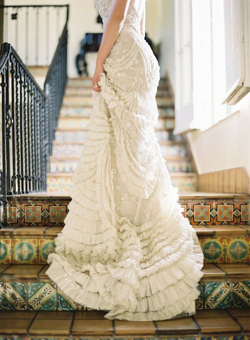 Wedding Gown with gorgeous bohemian detail - this picture is total drama and simply stunning.